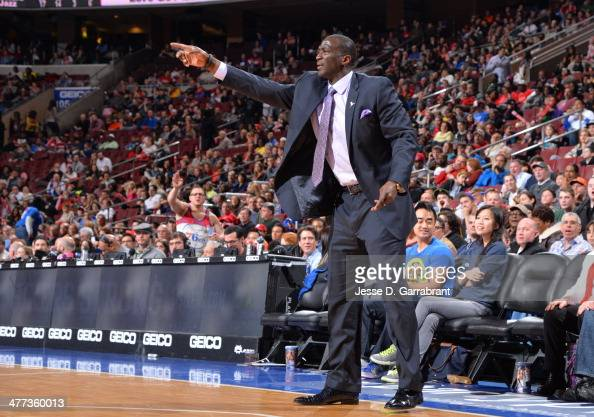 Head Coach Tyrone Corbin of the Utah Jazz gives direction to his team against the Philadelphia 76ers at the Wells Fargo Center on March 8 2014 in...