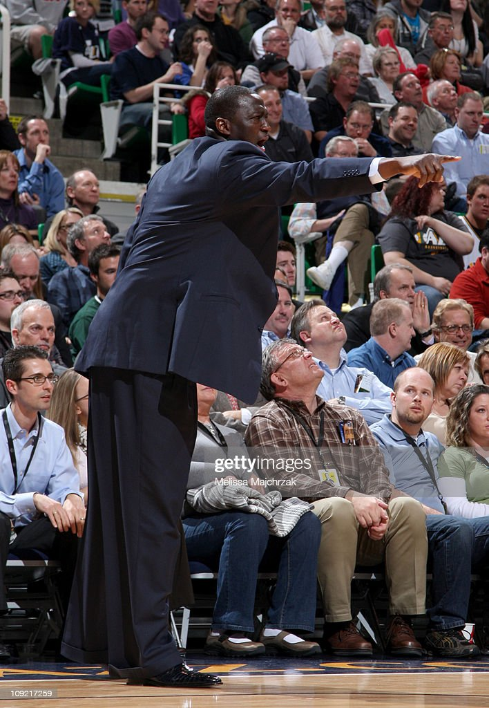 Head Coach <a gi-track='captionPersonalityLinkClicked' href=/galleries/search?phrase=Tyrone+Corbin&family=editorial&specificpeople=829288 ng-click='$event.stopPropagation()'>Tyrone Corbin</a> of the Utah Jazz gives directions to the players on the court while playing against of the Golden State Warriors at EnergySolutions Arena on February 16, 2011 in Salt Lake City, Utah.