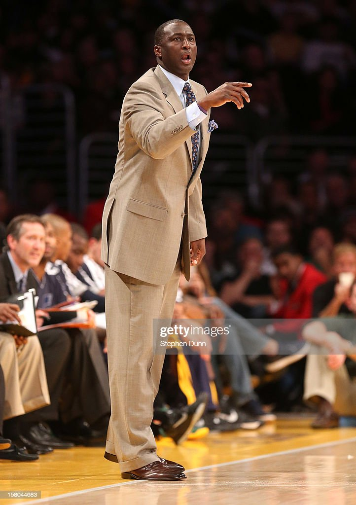 Head coach Tyrone Corbin of the Utah Jazz gives instructions in the game with the Los Angeles Lakers at Staples Center on December 9, 2012 in Los Angeles, California. The Jazz won 117-110.