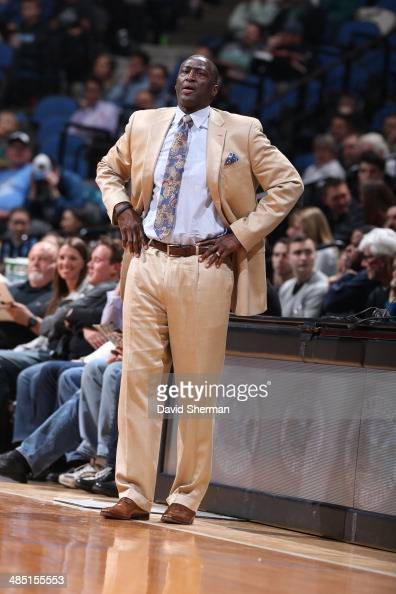 Head Coach Tyrone Corbin of the Utah Jazz looks on against the Minnesota Timberwolves during the game on April 16 2014 at Target Center in...