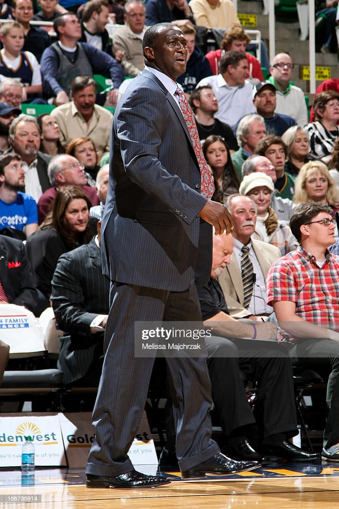 Head Coach Tyrone Corbin of the Utah Jazz looks on as his team plays the Houston Rockets at Energy Solutions Arena on November 19, 2012 in Salt Lake City, Utah.