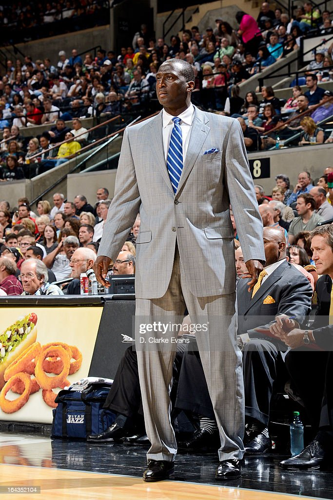 Head Coach Tyrone Corbin of the Utah Jazz looks on during a game against the San Antonio Spurs on March 22, 2013 at the AT&T Center in San Antonio, Texas.