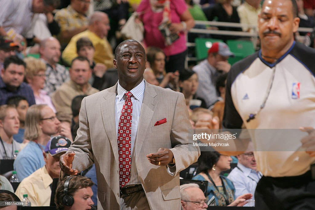 Head coach Tyrone Corbin of the Utah Jazz reacts against the Brooklyn Nets at Energy Solutions Arena on March 30, 2013 in Salt Lake City, Utah.