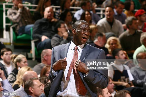 Head coach Tyrone Corbin of the Utah Jazz reacts during a game against the Houston Rockets at EnergySolutions Arena on November 02 2013 in Salt Lake...
