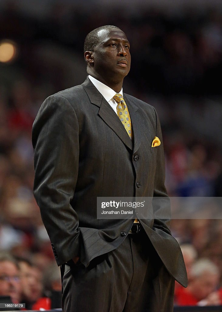 Head coach Tyrone Corbin of the Utah Jazz watches as his team takes on the Chicago Bulls at the United Center on March 8, 2013 in Chicago, Illinois. The Bulls defeated the Jazz 89-88.