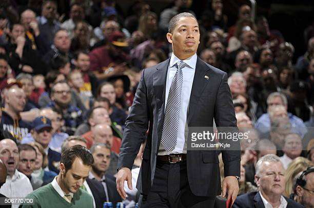 Head coach Tyronn Lue of the Cleveland Cavaliers during the game against the Minnesota Timberwolves on January 25 2016 at Quicken Loans Arena in...