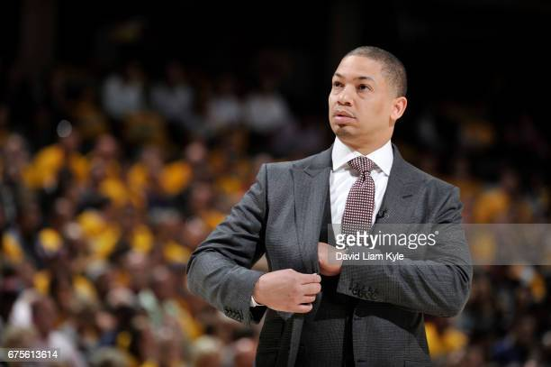 Head Coach Tyronn Lue of the Cleveland Cavaliers looks on during Game One of the Eastern Conference Semifinals of the 2017 NBA Playoffs on May 1 2017...