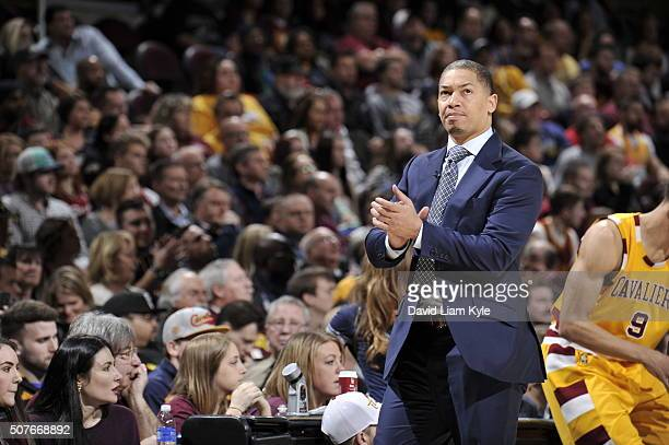 Head Coach Tyronn Lue of the Cleveland Cavaliers looks on during the game against the San Antonio Spurs on January 30 2016 at Quicken Loans Arena in...