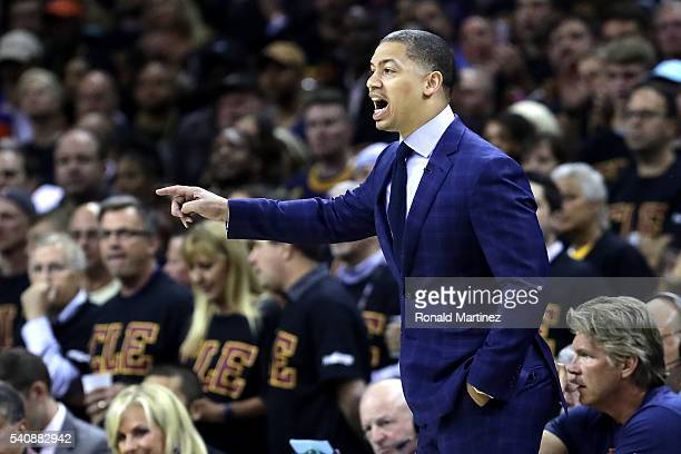 Head coach Tyronn Lue of the Cleveland Cavaliers looks on in the first half against the Golden State Warriors in Game 6 of the 2016 NBA Finals at...
