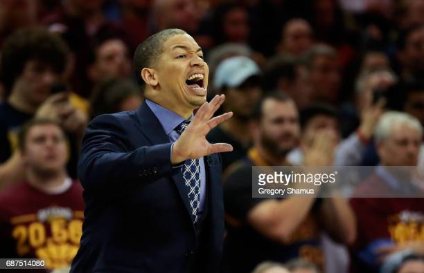 Head coach Tyronn Lue of the Cleveland Cavaliers reacts in the second half against the Boston Celtics during Game Four of the 2017 NBA Eastern...