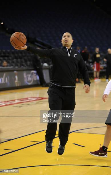 Head coach Tyronn Lue of the Cleveland Cavaliers shoots around during a practice for the 2017 NBA Finals at ORACLE Arena on May 31 2017 in Oakland...