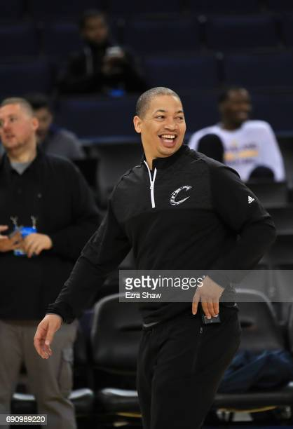 Head coach Tyronn Lue of the Cleveland Cavaliers smiles on court during a practice for the 2017 NBA Finals at ORACLE Arena on May 31 2017 in Oakland...