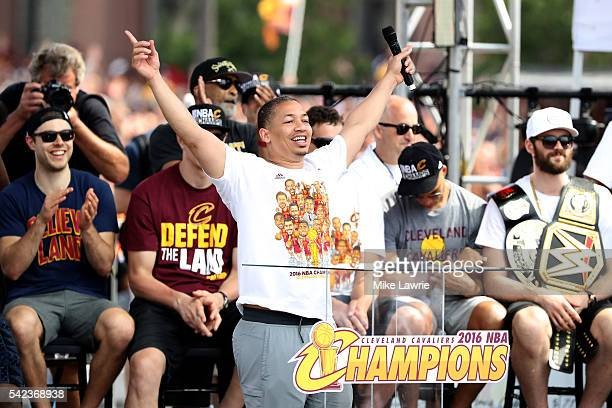Head coach Tyronn Lue of the Cleveland Cavaliers speaks onstage during the Cleveland Cavaliers 2016 NBA Championship victory parade and rally on June...