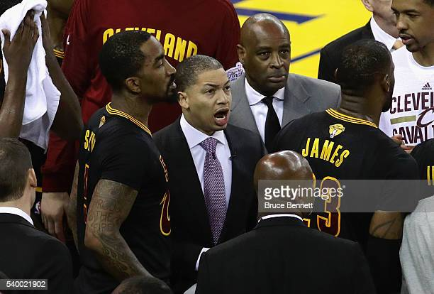 Head coach Tyronn Lue of the Cleveland Cavaliers talks with his team during the second half against the Golden State Warriors in Game 5 of the 2016...