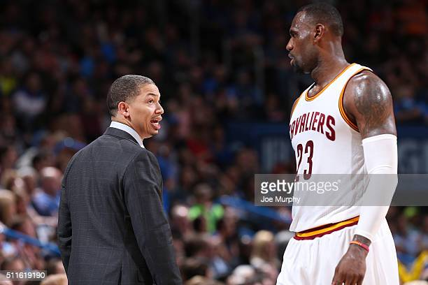Head coach Tyronn Lue of the Cleveland Cavaliers talks with LeBron James of the Cleveland Cavaliers during the game against the Oklahoma City Thunder...
