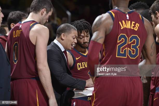 Head Coach Tyronn Lue of the Cleveland Cavaliers talks with the players during a time at during the game against the Indiana Pacers on November 1...