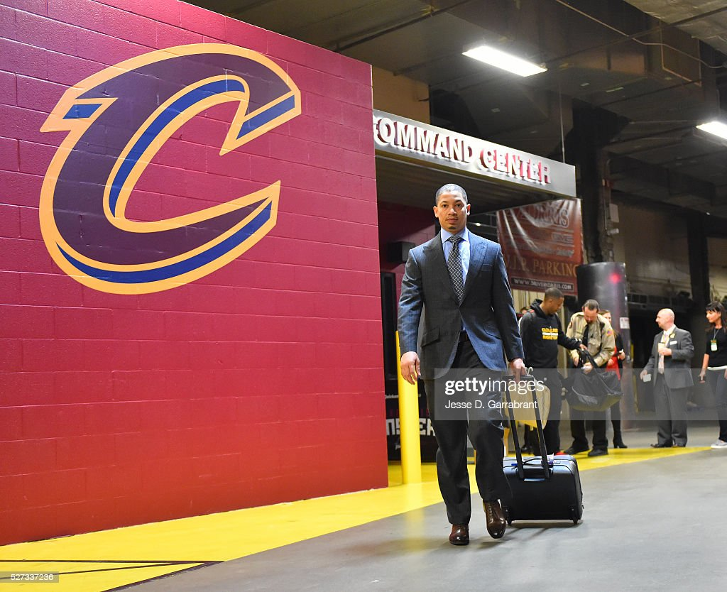 Head Coach Tyronn Lue of the Cleveland Cavilers arrives for the game against the Atlanta Hawks during the Eastern Conference Semifinals Game One on May 2, 2016 at The Quicken Loans Arena in Cleveland, Ohio.