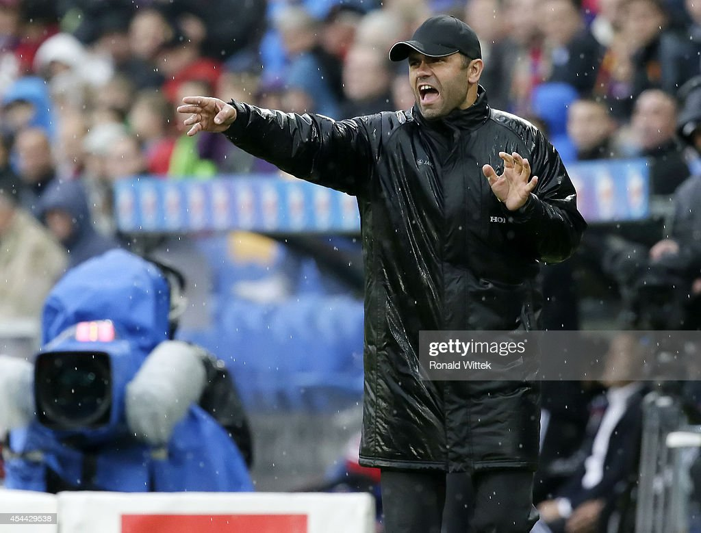 Head Coach Uli Forte of Bern reacts during the Raiffeisen Super League match between FC Basel and BSC Young Boys Bern at St.Jakob-Park on August 31, 2014 in Basel, Switzerland.