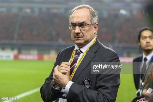 Head coach Uli Stielike of South Korea attends the opening prior to the 2018 FIFA World Cup Qualifying group match between China and South Korea at...