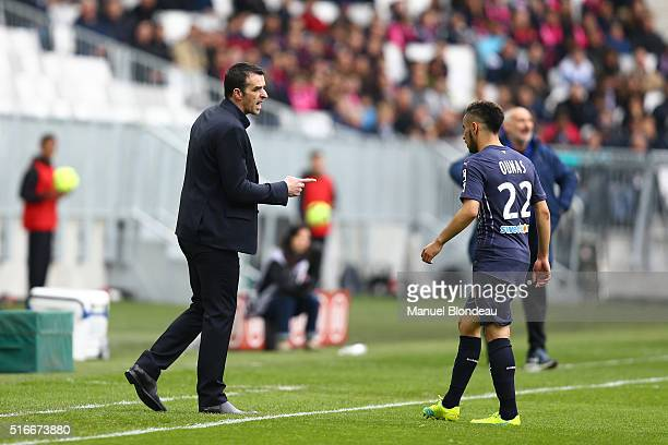 Head Coach Ulrich Rame and Adam Ounas of Bordeaux during the French Ligue 1 match between FC Girondins de Bordeaux v SC Bastia at Nouveau Stade de...