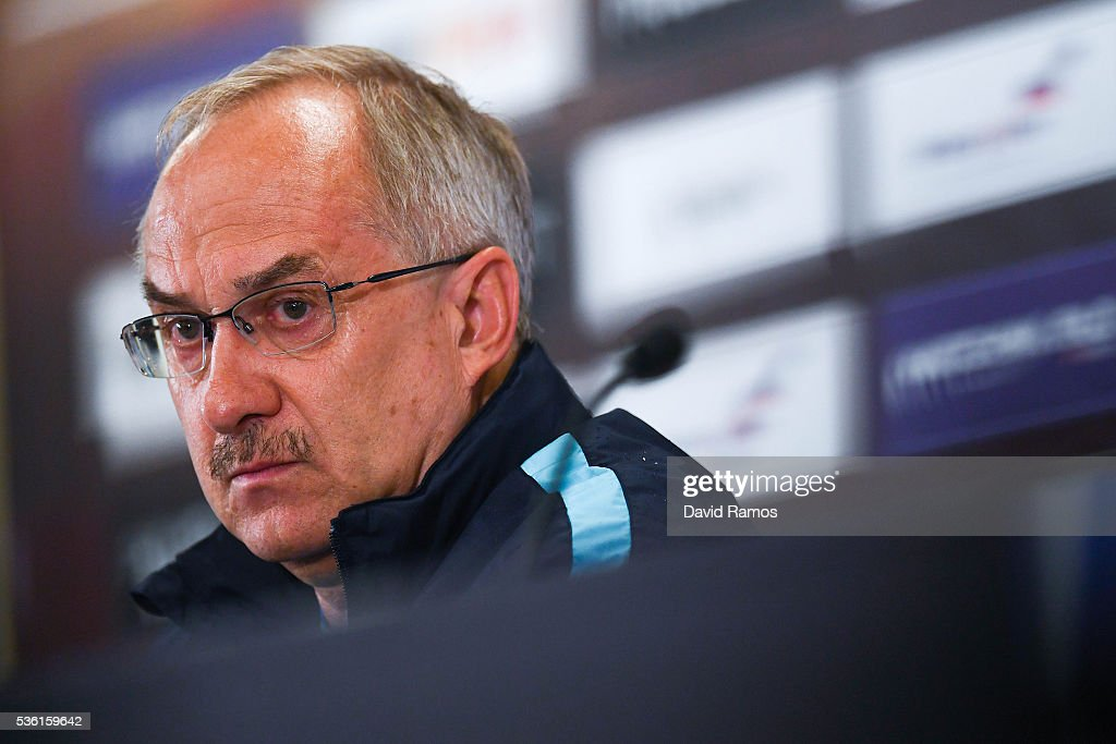 Head coach Ulrich Stielike of Korea faces the media during a press conference before a training session at the Red Bull Arena stadium on May 31, 2016 in Salzburg, Austria.