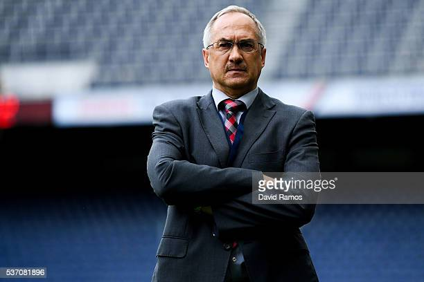 Head coach Ulrich Stielike of Korea looks on during an international friendly match between Spain and Korea at the Red Bull Arena stadium on June 1...
