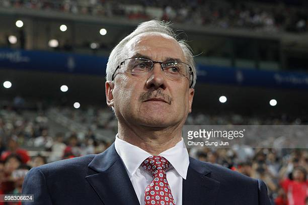 Head coach Ulrich Stielike of South Korea looks on prior to the 2018 FIFA World Cup Qualifier Final Round Group A match between South Korea and China...