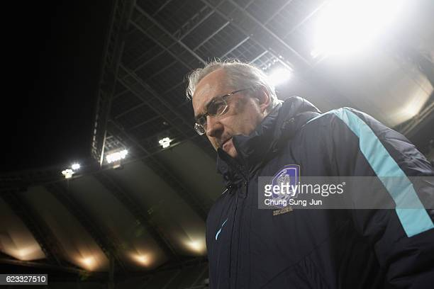 Head coach Ulrich Stielike of South Korea looks on prior to the 2018 FIFA World Cup qualifying match between South Korea and Uzbekistan at Seoul...
