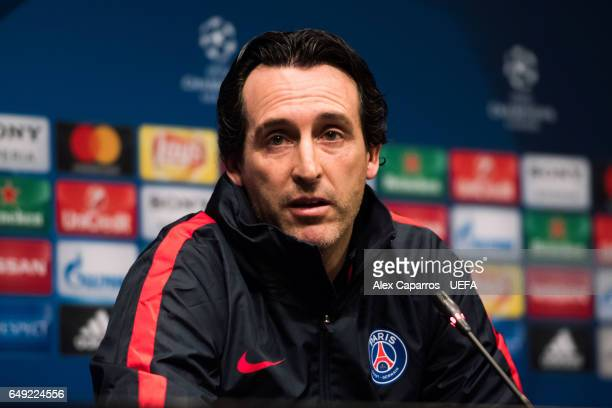 Head coach Unai Emery of Paris SaintGermain faces the media during a press conference ahead of the UEFA Champions League Round of 16 second leg match...