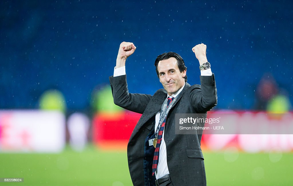 Head coach Unai Emery of Sevilla celebrates after the UEFA Europa League Final between Liverpool and Sevilla at St. Jakob-Park on May 18, 2016 in Basel, Switzerland.