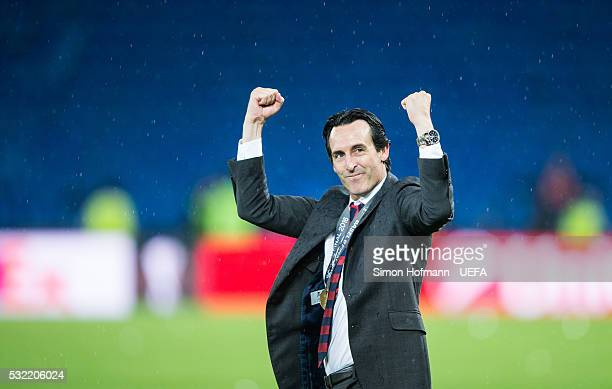 Head coach Unai Emery of Sevilla celebrates after the UEFA Europa League Final between Liverpool and Sevilla at St JakobPark on May 18 2016 in Basel...