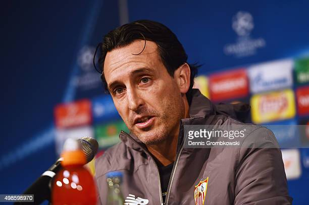 Head coach Unai Emery of Sevilla FC reacts during a press conference ahead of their UEFA Champions League Group D match against Borussia...