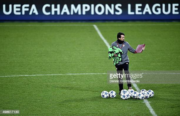Head coach Unai Emery of Sevilla FC reacts during a training session ahead of their UEFA Champions League Group D match against Borussia...