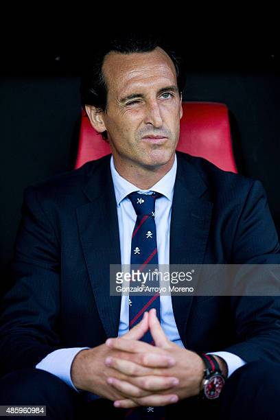 Head coach Unai Emery of Sevilla FC wrinkles his eye sitted on the bench prior to start the La Liga match between Sevilla FC and Club Atletico de...