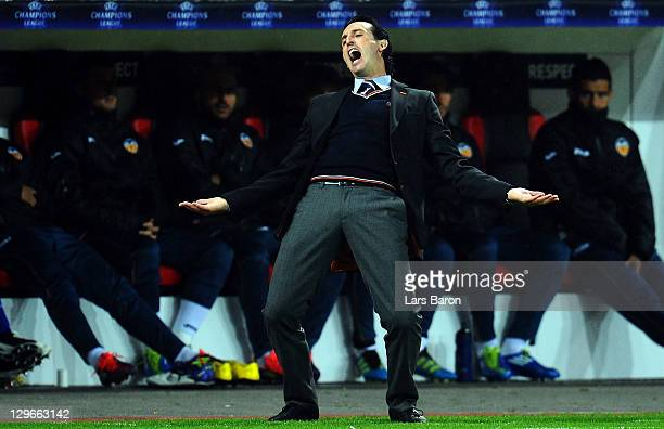Head coach Unai Emery of Valencia reacts during the UEFA Champions League group E match between Bayer 04 Leverkusen and CF Valencia at BayArena on...