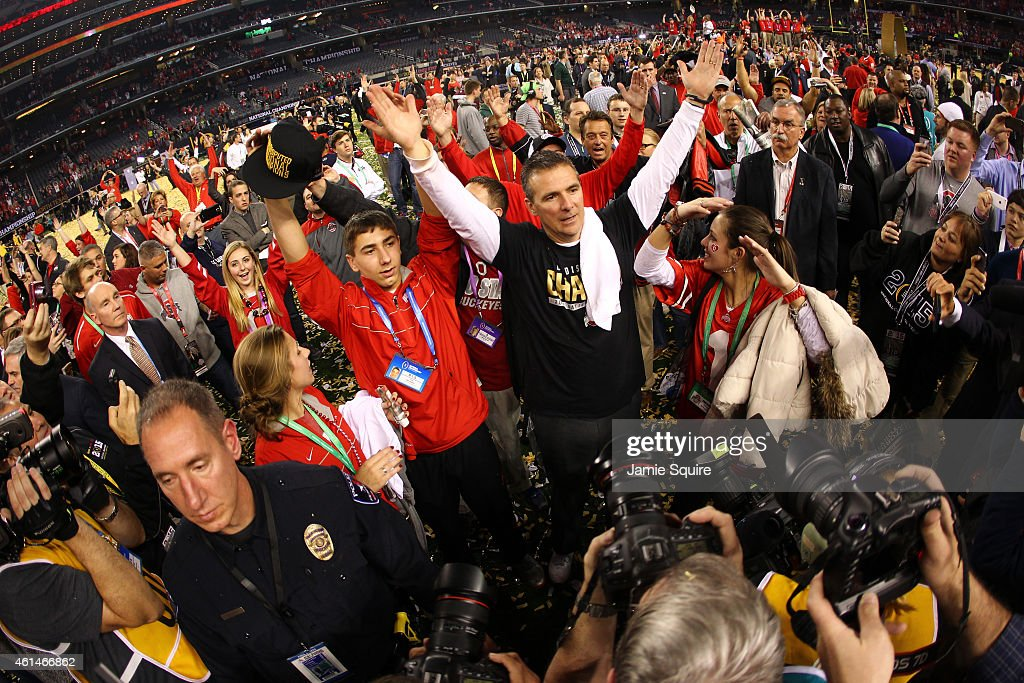 Head Coach Urban Meyer of the Ohio State Buckeyes celebrates after defeating the Oregon Ducks 42 to 20 in the College Football Playoff National Championship Game at AT&T Stadium on January 12, 2015 in Arlington, Texas.