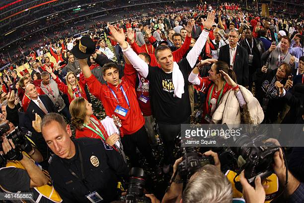 Head Coach Urban Meyer of the Ohio State Buckeyes celebrates after defeating the Oregon Ducks 42 to 20 in the College Football Playoff National...