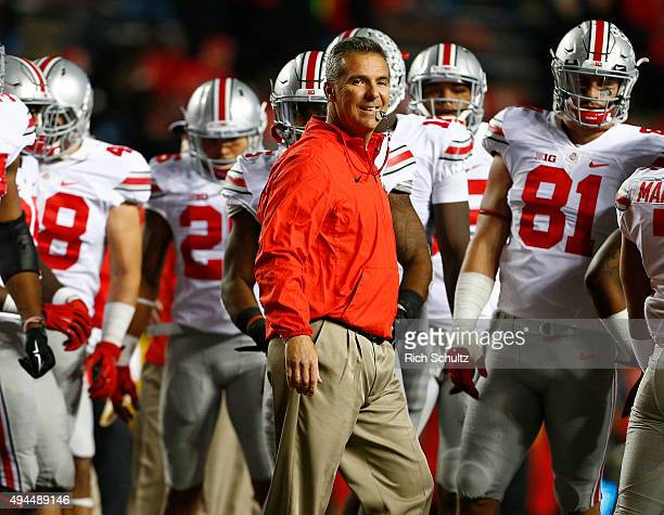 Head coach Urban Meyer of the Ohio State Buckeyes during warmups before a game against the Rutgers Scarlet Knights at High Point Solutions Stadium on...