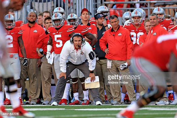 Head Coach Urban Meyer of the Ohio State Buckeyes on the sidelines during the third quarter against the Northern Illinois Huskies at Ohio Stadium on...