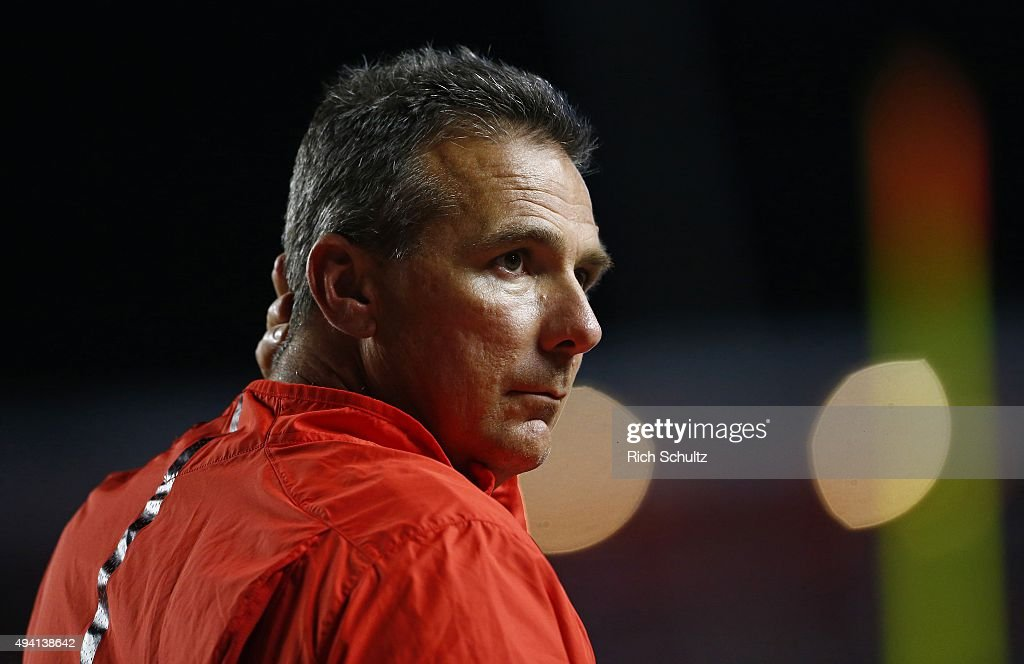 Head coach Urban Meyer of the Ohio State Buckeyes on the sidelines during the third quarter against the Rutgers Scarlet Knights at High Point Solutions Stadium on October 24, 2015 in Piscataway, New Jersey. Ohio State defeated Rutgers 49-7.