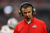 Head coach Urban Meyer of the Ohio State Buckeyes on the sidelines during the BattleFrog Fiesta Bowl against the Notre Dame Fighting Irish at...