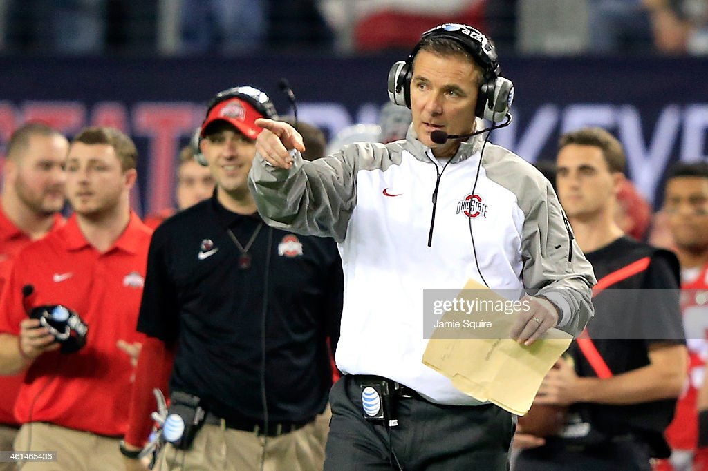 Head Coach Urban Meyer of the Ohio State Buckeyes points in the second half against the Oregon Ducks during the College Football Playoff National...