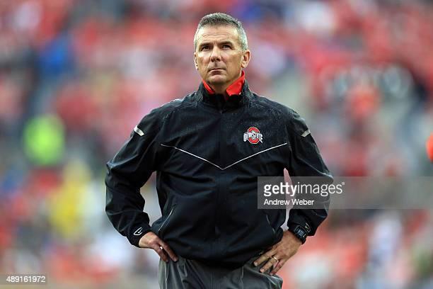 Head Coach Urban Meyer of the Ohio State Buckeyes prior to the game Northern Illinois Huskies at Ohio Stadium on September 19 2015 in Columbus Ohio