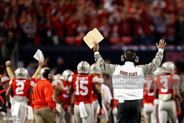 Head Coach Urban Meyer of the Ohio State Buckeyes reacts after a play in the fourth quarter against the Oregon Ducks during the College Football...