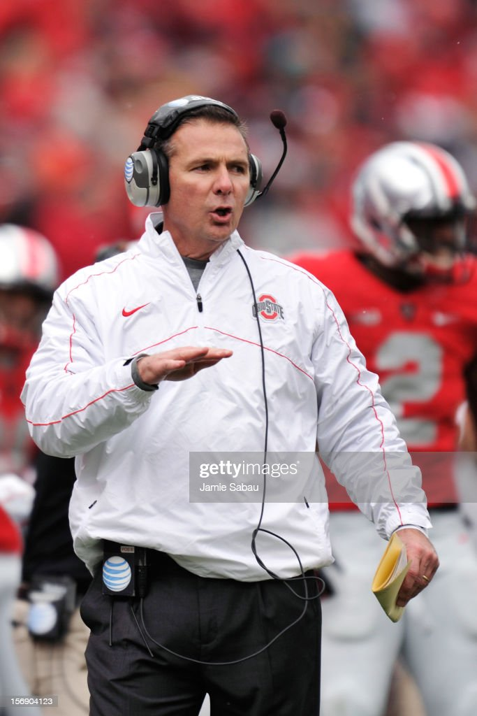 Head coach <a gi-track='captionPersonalityLinkClicked' href=/galleries/search?phrase=Urban+Meyer&family=editorial&specificpeople=2108753 ng-click='$event.stopPropagation()'>Urban Meyer</a> of the Ohio State Buckeyes shouts instructions to his team during the first half of a game against the Michigan Wolverines at Ohio Stadium on November 24, 2012 in Columbus, Ohio. Ohio State defeated Michigan 26-21.