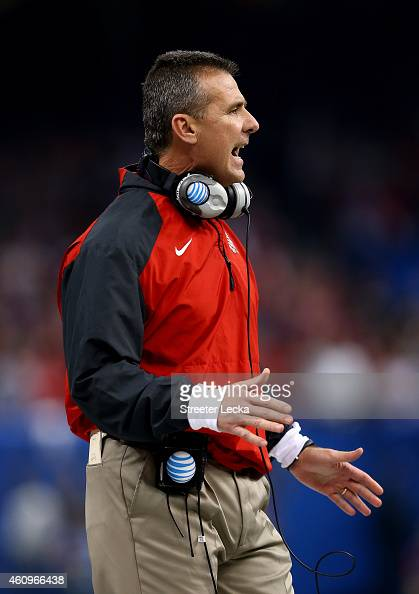 Head coach Urban Meyer of the Ohio State Buckeyes shouts on the field during the All State Sugar Bowl against the Alabama Crimson Tide at the...