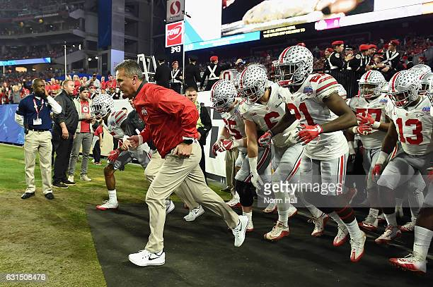 Head coach Urban Meyer of the Ohio State Buckeyes takes the field during the second half against the Clemson Tigers during the 2016 PlayStation...