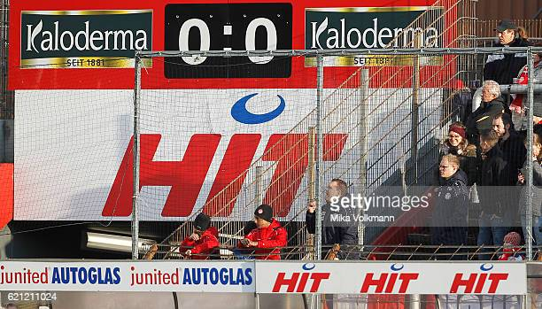 Head coach Uwe Koschinat of Cologne on the tribune during the Third League match between Fortuna Koeln and Preussen Muenster at Suedstadion on...