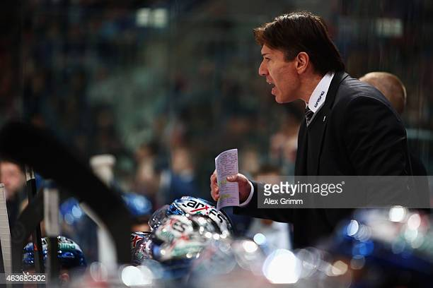 Head coach Uwe Krupp of Berlin reacts during the DEL match between Adler Mannheim and Eisbaeren Berlin at SAP Arena on February 17 2015 in Mannheim...