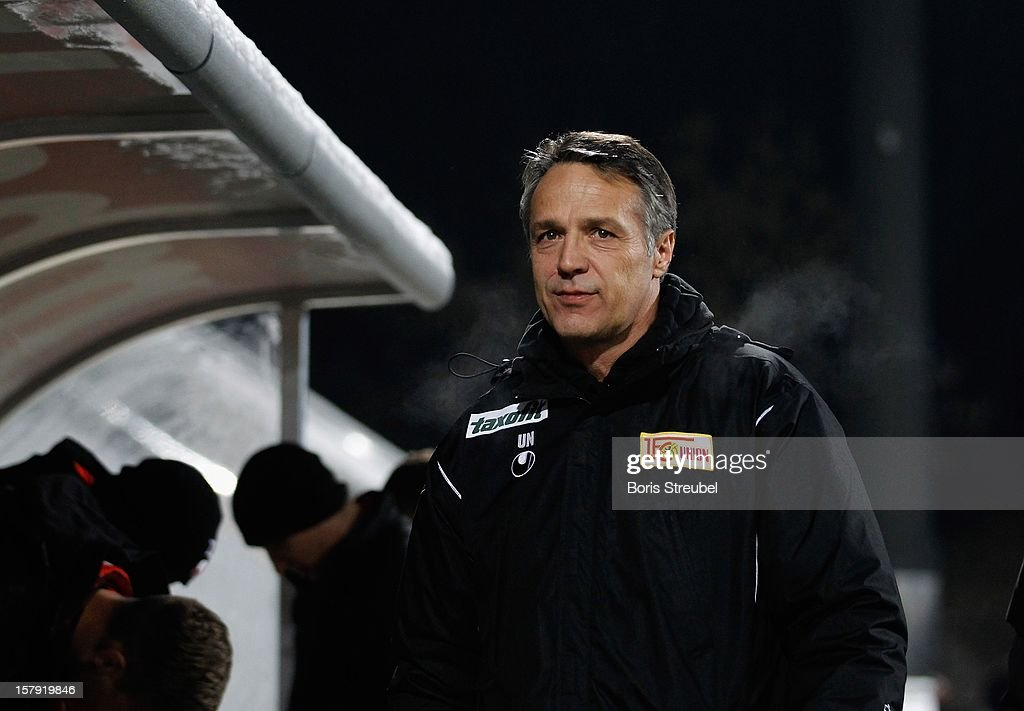 Head coach Uwe Neuhaus of Berlin attends the Second Bundesliga match between 1. FC Union Berlin and 1. FC Kaiserslautern at Stadion An der Alten Foersterei on December 7, 2012 in Berlin, Germany.